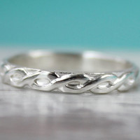 Sterling silver stacking ring with braided pattern stackable Irish gaelic design wedding anniversary band promise stack ring wide handmade