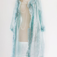 Blue Lace Robe. Plus Size. Sky Blue Vintage Clothing. Womens Housecoat, Loungewear, Lingerie // Maternity, Bridal, Gift for Her