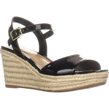 Lauren Ralph Lauren Keara Wedge Espadrille Sandals, Black, 6.5 US / 37.5 EU
