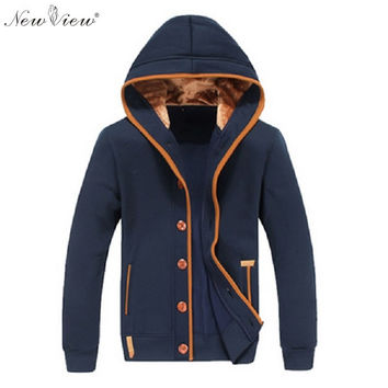 Men Fleece Elbow Patch Hooded Single Breasted