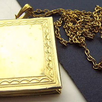 """Locket Pendant Necklace Book Style Gold Etched Metal Lacy Cable Chain Graduation Vintage 16"""""""