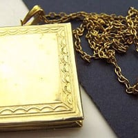 Locket Pendant Necklace Book Style Gold Etched Metal Lacy Cable Chain Graduation Vintage 16""