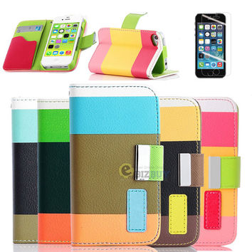 Hybrid PU Leather Wallet Flip and Stand with Holder Case Cover for iPhone 4 4S 5 5S