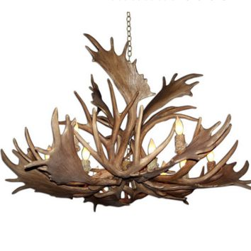 Canadian Antler Design Reproduction Fallow Elk Mule Deer Combo 12-Light Natural Brown Antler Chandelier Rustic Lodge Log Cabin