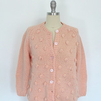 Vintage Peach Sweater Cardigan / 1980s 80s 1970s 70s / Preppy Pastel / Wool / Italy /  Pom Pom / Size Large L
