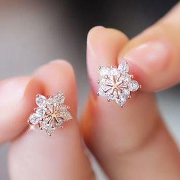 Snow Queen Flower Rhinestone Earrings