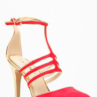 Liliana Red Pointy Toe High Ankle Strap Heel