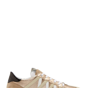 Dolce And Gabbana White And Gold Perforated Leather Sneakers