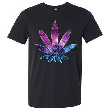 Cosmic Cannabis Space Pot Leaf Galaxy Asst Colors Mens Fitted Tee