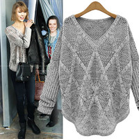 Fashion Gray Diamond Long-sleeved Hollow Out knit &Cardigan
