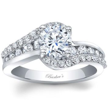 "Barkev's Bypass Twist ""Half-Halo"" Prong Set Diamond Engagement Ring"