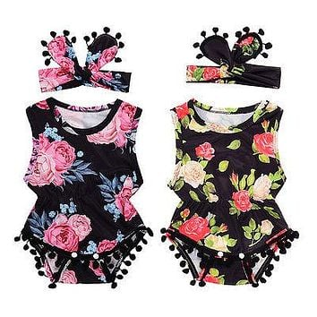 Summer 2017 Newborn Toddler Baby Girl Floral Tassle Ball Romper Jumpsuit +Headband Infant Clothes Outfit Sunsuit