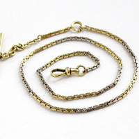 Antique 14k Yellow & White Gold Filled Pocket Watch Chain - Art Deco Vintage Swivel Clip Mens Two Tone Box Chain Jewelry Hallmarked Simmons
