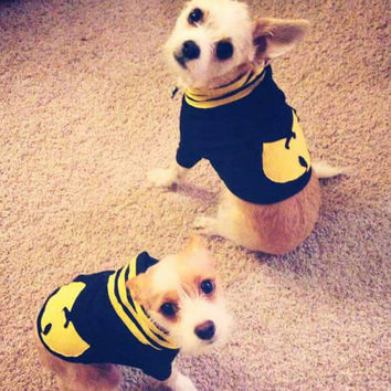 WuTang Killa Bees Dog Hoodie - Bad Ass Puppy - Wu Tang Sweatshirt Zip Up Hoodie - Black and Yellow