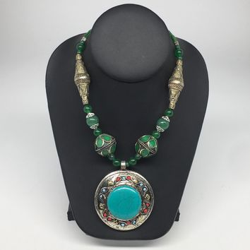 Turkmen Necklace Beaded Afghan Ethnic Kuchi Tribal Turquoise Inlay Pendant VS179
