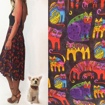 Vintage Boho Cat Lady Indian Gauze Skirt || Maxi Boho Geometric Abstract Summer Festival Gypsy Hippie Skirt || Size S M L Small Medium Large
