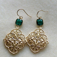 Emerald and Gold Chandelier Earrings - Emerald Earrings - Gold Earrings - May Birthstone - Birthstone Earrings - Graduation Present