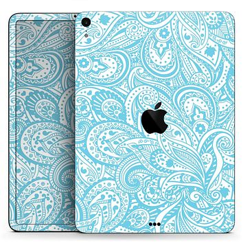 "Light Blue Paisley Floral - Full Body Skin Decal for the Apple iPad Pro 12.9"", 11"", 10.5"", 9.7"", Air or Mini (All Models Available)"