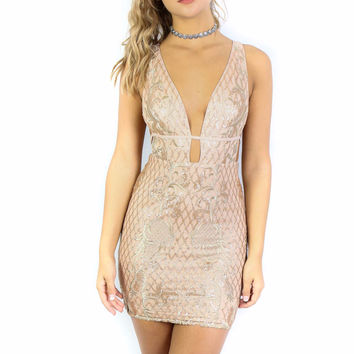Cape Town Gold Sequined Mini Dress
