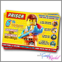 Emmet Calling all Master Builders - Invitation Card Design For Birthday Party Kid