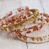 Skinny Bangle. Eco Resin. Resin Bracelet. Gold Leaf. Copper Leaf. Layered Bangle. High Fashion. Handmade. Stacked Jewellery.