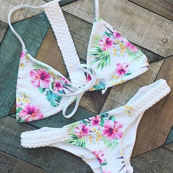 Sexy Hot Swimsuit New Arrival Beach Summer Swimwear White Print Bikini [11423622863]