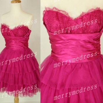 Lace applique Sweetheart Strapless Short Tiered Ruffled Gown Cocktail Celebrity Dress, Plum Tulle Formal Evening Party Prom Homecoming Dress