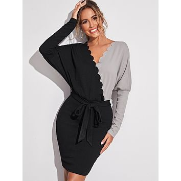 SHEINBatwing Sleeve Scallop Trim Colorblock Belted Dress