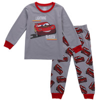 2PCS Set Toddler Kids Boy Girl Pajama Set Long Sleeve Tops Shirt+Long Pant Sleepwear Nightwear Children Pajamas Pjy 2-8Y