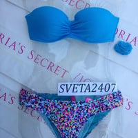 New Sexy Victoria's Secret Madi Bandeau Bikini Set Mix and Match Confetti 32C S
