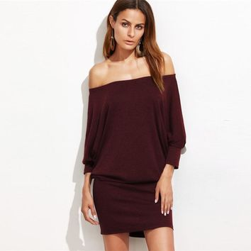 Fashion Dress Off Shoulder Drop Waist Long Sleeve Shift  Dress Women Casual Short Dress