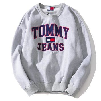 Tommy Jeans Autumn Winter Popular Casual Long Sleeve Round Collar Sweater Top Sweatshirt Grey