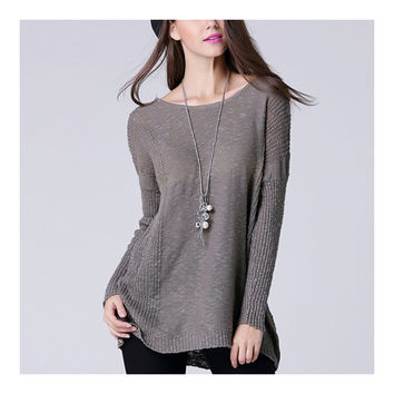 Batwing Knitwear Thin Loose Pullover Sweater   grey