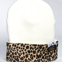1st Class Leopard Front Patch BeanieOff White