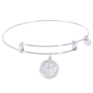 Sterling Silver Confident Bangle Bracelet With Pawprint Charm