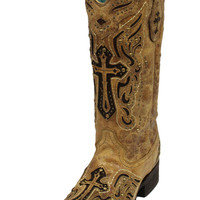 Corral Antique Saddle Brown Cross Boots C2855