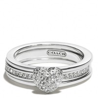 Coach :: Sterling Pave Heart Convertible Ring