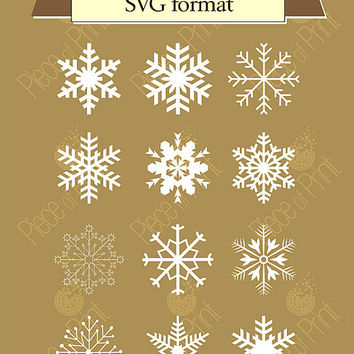 Svg cut file - Snowflakes - Set of 12 Vector Graphic Files SVG EPS DXF, cutting machine file, Cricut svg file