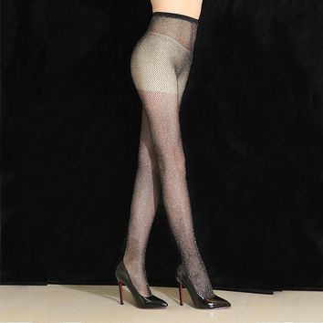 1 pcs Sexy Women Lady Mesh Glitter Fishnet Tights  Jacquard Pantyhose in a grid 2017 Spring New Listing