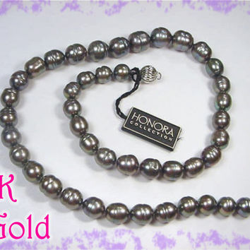 HONORA - 14K White Gold - Iridescent Medium Gray Silver TAHITIAN Pearl Ringed Strand Necklace - Large 8 to 10 mm