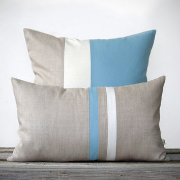 Blue and White Pillow Set   Spring Home Decor (12x20) Stripe and (20x20) Colorblock by JillianReneDecor   Nautical Beach House   Placid Blue
