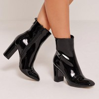 Missguided - Patent Heeled Ankle Boots Black