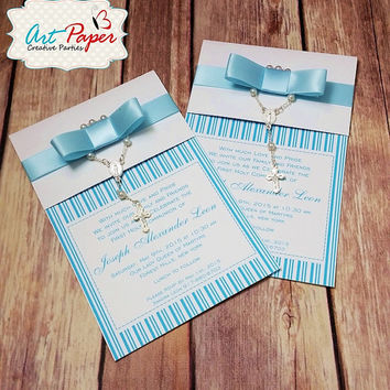 20 Baptism or first communion invitations with mini rosary and ribbon. Can be for first communion, baby shower, birthday
