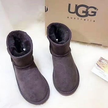UGG Women Autumn And Winter New Fashion Keep Warm Snow Boots Shoes Coffee