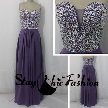 Sexy Purple Strapless Rhinestones Beaded Top Net Inset V Neck Long Prom Dress 2015 Juniors