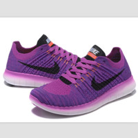 Nike free RN flynit running sneakers Sport Casual Shoes Sneakers Purple black hook