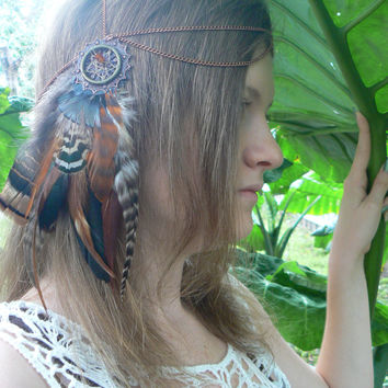 dreamcatcher feather headdress tribal inspired  boho style