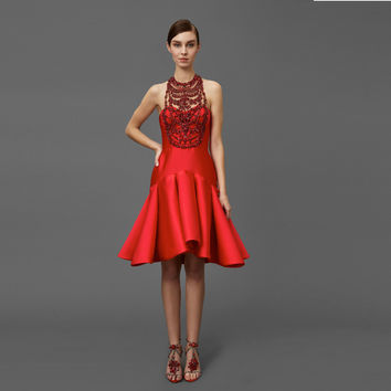 Trendy Red Cocktail Dresses Shiny Crystal Mermaid Knee Length Beads Formal Party Dress Ruffles Off Shoulder Robes De Cocktail