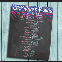 Gender Reveal Party Decorations Old Wives Tales Chalkboard Poster Chinese Gender Chart Baby Shower Decorations Pink Blue Mom to Be Baby