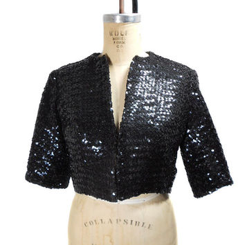 1950s Parade New York Sequin Bolero Jacket / VLV Rockabilly / Mad Men / Shrug / Black / Womens Vintage Jacket / Size Small